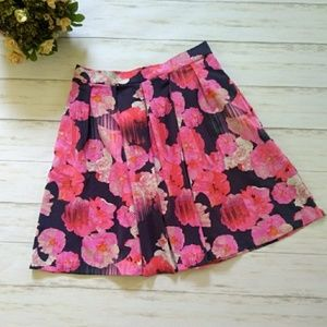 Cynthia Rowley Pink Floral Scuba Skirt